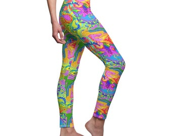 Trippy Psychedelic all over print leggings, that are so colorful, heads will turn and people will enjoy finding all the hidden creatures
