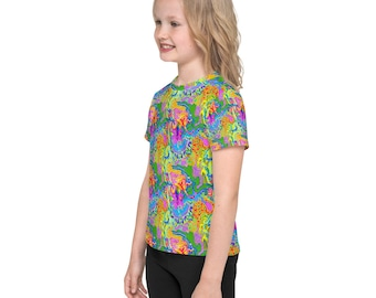 Trippy Psychedelic all over print kid's t shirt, that is so weird, heads will turn and kid's will have fun finding all the hidden creatures