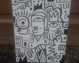 Untitled Black And White Abstract 8x10 Original Painting, Abstract Painting, Acrylic Painting, Cubist Art, Pop Art, Street Art, Wall Art