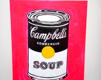 Warhol Soup Can 16 x 20 Original Painting , Abstract Painting, Wall Art, Street Art, Original Art, Canvas Art,Pop Art