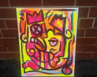 Jughead 16 x 20 Original Acrylic Art Painting, Abstract Art, Cubist Art, Pop Art, Street Art, Wall