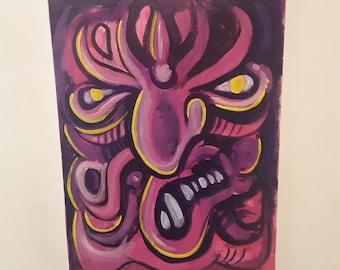 Evil Octo Puss Original 18x24 Acrylic Painting, Abstract Painting, Pop Art, Cartoon Art, Street Art, Wall Art