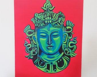 Green Tara Goddess Painting, Buddist Goddess, Original Acrylic art, 13 x 13, Acrylic On Wooden Panel