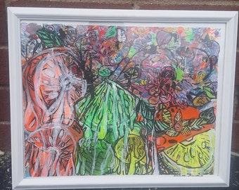 Make Me Juice 12×15.25 original abstract art,pop art , street art, mixed media,,wall decor
