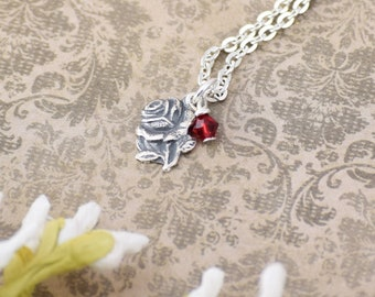 Valentine Rose Miraculous Medal Pendant and Chain in Sterling Silver