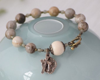 Rosary Bracelet in Silver Leaf Jasper with Miraculous Medal and Crucifix Catholic GIft