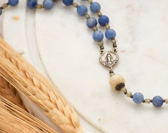 Miraculous Medal Rosary Beads in Blue Aventurine Catholic Rosary Beads First Holy Communion Gift