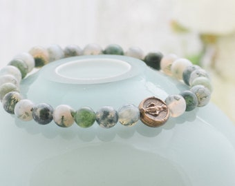 """Miraculous Medal """"No Dangle"""" Stretch Bracelet in Moss Agate"""