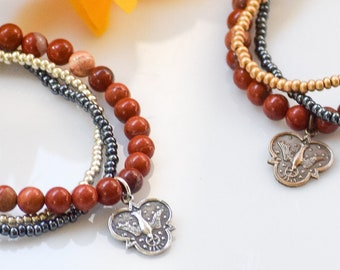 Confirmation Gift Holy Spirit Stretch Bracelet in Red Poppy Jasper