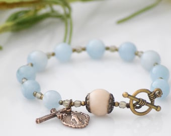 Rosary Bracelet in Natural Aquamarine with Miraculous Medal and Crucifix Catholic Gift