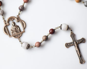 Our Lady's Immaculate Heart Large Rosary in Fantasy Jasper