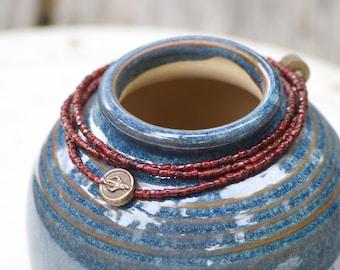 Miraculous Medal Wrap Bracelet in Poppy Red