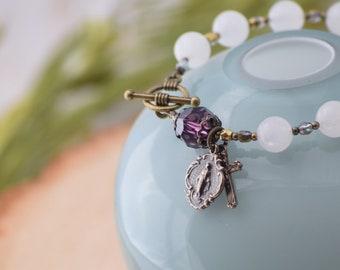 Rosary Bracelet Amethyst February Birthstone SWAROVSKI Catholic Rosary