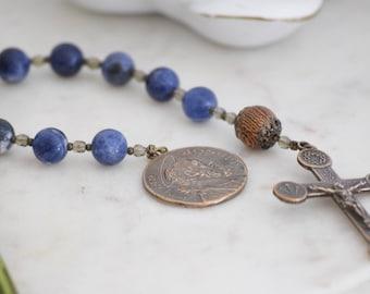 St. Joseph Pocket Rosary BLUE Walking Rosary Consecration Gift
