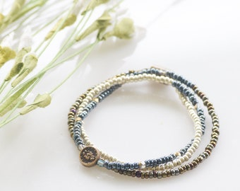 Miraculous Medal Wrap bracelet seed bead magnetic clasp