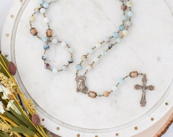 Limited Edition Our Lady of the Lilies Rosary in Amazonite and Swarovski Crystal