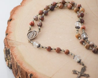Our Lady of Guadalupe Rosary Beads in Bird's Eye Rhyolite