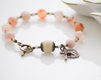 Rosary Bracelet in Strawberry Jasper Miraculous Medal and Crucifix Catholic Gift