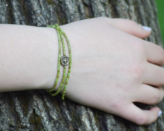 Miraculous Medal Wrap Bracelet in Meadow Green