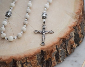 First Holy Communion Rosary Beads in Ivory Riverstone Catholic Rosary Gift Baptism Confirmation First Eucharist