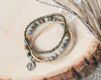 Miraculous Medal Stretch Bracelet in Ocean Jasper