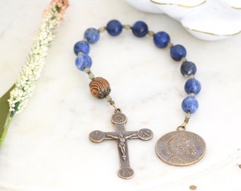 St. Joseph Pocket Rosary Consecration to Joseph gift in BLUE