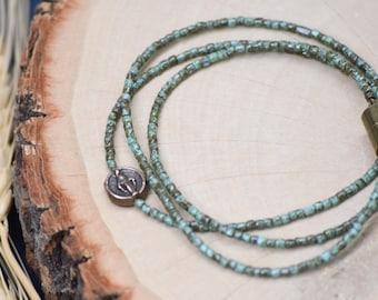 Miraculous Medal Wrap Bracelet in Dark Turquoise
