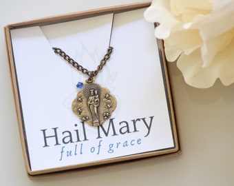 Queen of Angels Catholic Medal Pendant with Swarovski Crystal