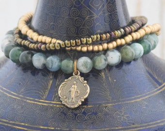 Miraculous Medal Stretch Bracelet in Moss Agate