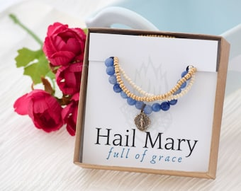 Miraculous Medal Stretch Bracelet in Blue Aventurine