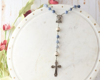 Our Lady of the Lilies Rosary in Blue Aventurine Rosary Beads Catholic Rosary
