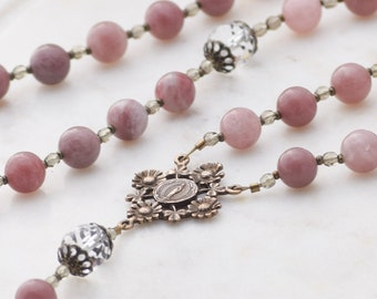 Our Lady's Garden Miraculous Medal Large Rosary in Purple Aventurine