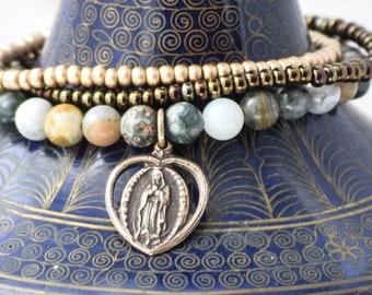 Our Lady of Guadalupe Stretch Bracelet in Ocean Jasper