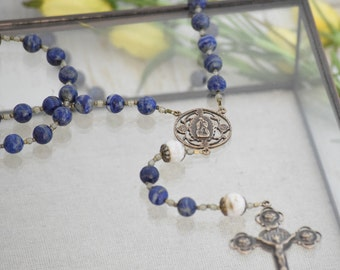 Our Lady of Guadalupe Large Rosary in Denim Lapis