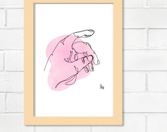 Hand Continuous Line Illustration
