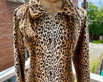 1990s/Y2K Leopard Print Zip-up Jacket