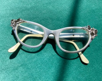 1950s Silver Cat Eye Tura Bejeweled Aluminum Glasses