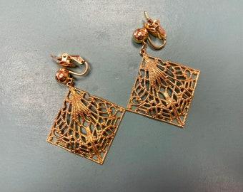 1980s/90s Goldtone Filigree Trifari Clip-on Earrings