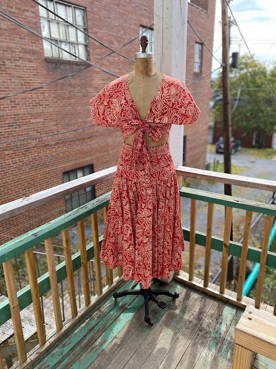 Vintage 1950s Batik Tie Waist Dress