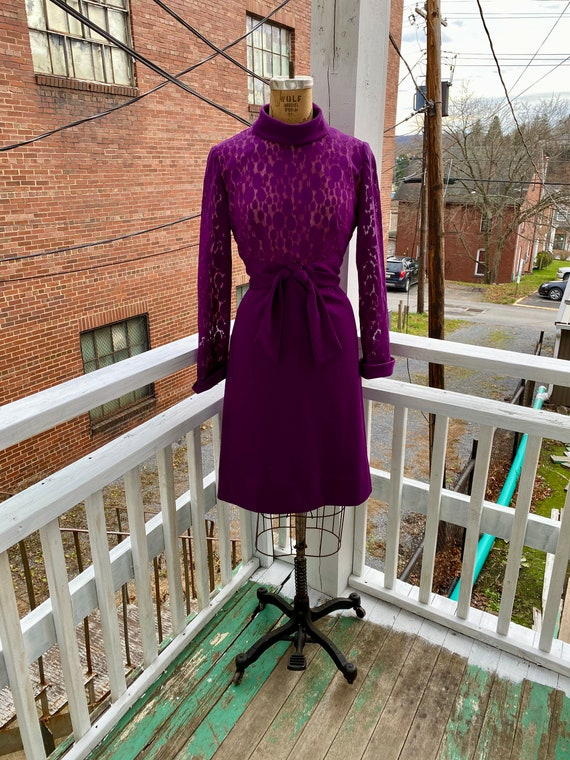 1960s Aubergine Purple Lilli Diamond Shift Dress