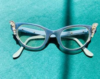 1950s Icy Blue Cat Eye Tura Aluminum Glasses