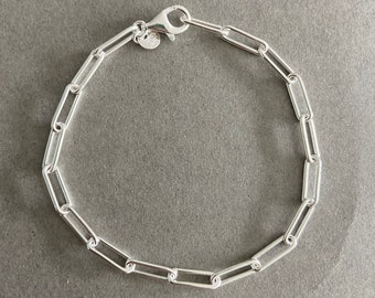 Sterling Silver Chain Link Paper Clip Chain Bracelet - Sterling Silver