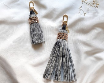 Cowhide leather tassel keychain, hair on leather charm, Luxe leather accessory, Gifts for her, white leather key fob, Leather Purse Tassel
