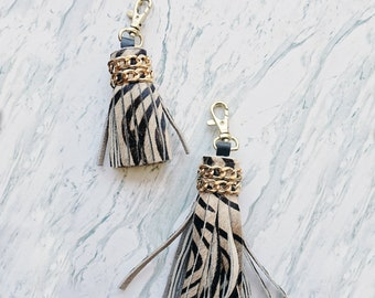 Chained Leather Tassel, Zebra leather Tassel Keychain, Large Leather keychain, Mini animal print keychain, Tassel Bag charm, hair on hide