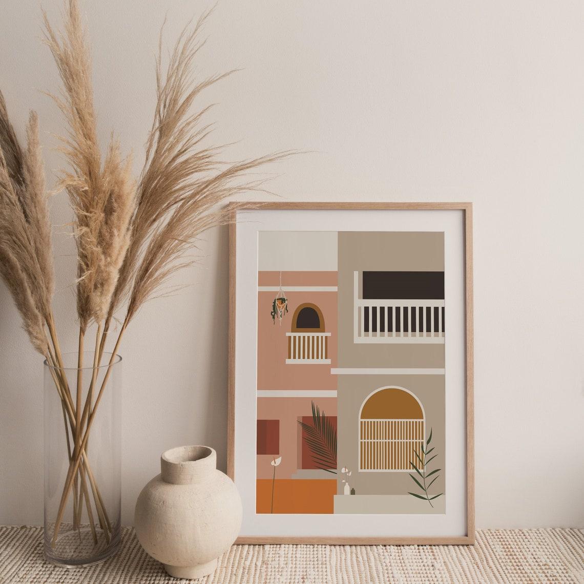 Home illustration Barcelona Spanish decor Vintage art image 0