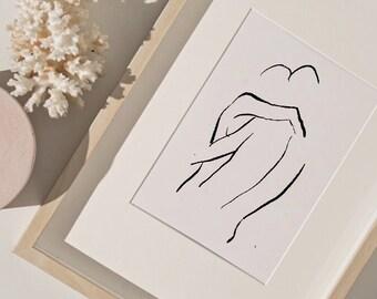 LOVERS | Couple sketch art,  line drawing, love poster, Printable Wall Art, figure sketch, Couple art Digital Download