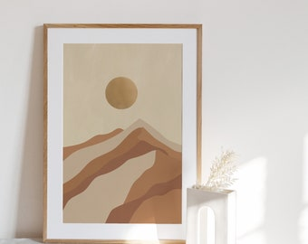 RISING   Landscape art print, Mountains art Poster, Printable wall art, Canvas print, Black artist, Sunrise art print, Digital Download