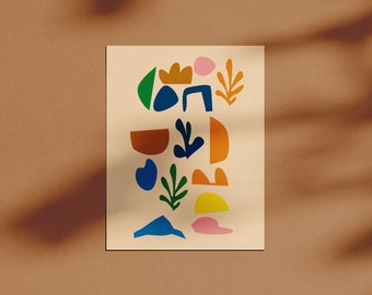 SUMMERY CUTOUTS   abstract art print, Cutout digital art, Colorful Canvas art, Digital Download, Matisse inspired art, Printable art