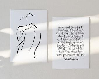 LOVE | Set of 2 art prints, 4 x 6 art print, Love quote mini, Black owned business, Bible verse art PRINT, 1 Corinthians 13 verse