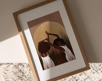 SUMMER MOON | Black Girl Wall Art, Black Woman POSTER, African American woman art print, Digital download art, printable art, girl gang art